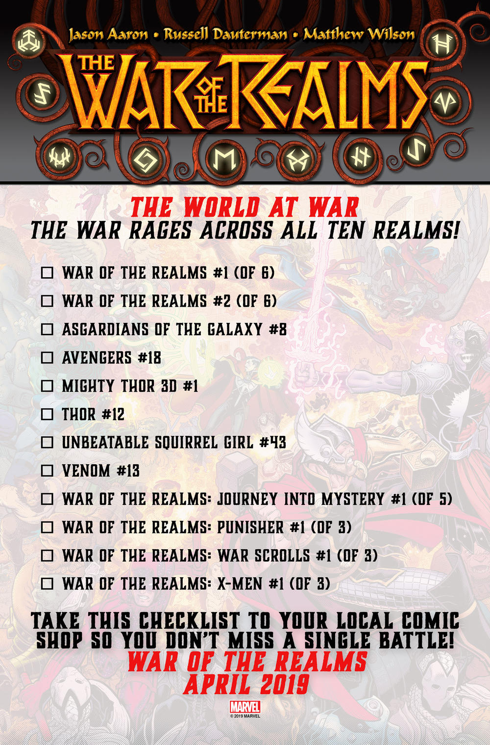 War of the Realms April checklist