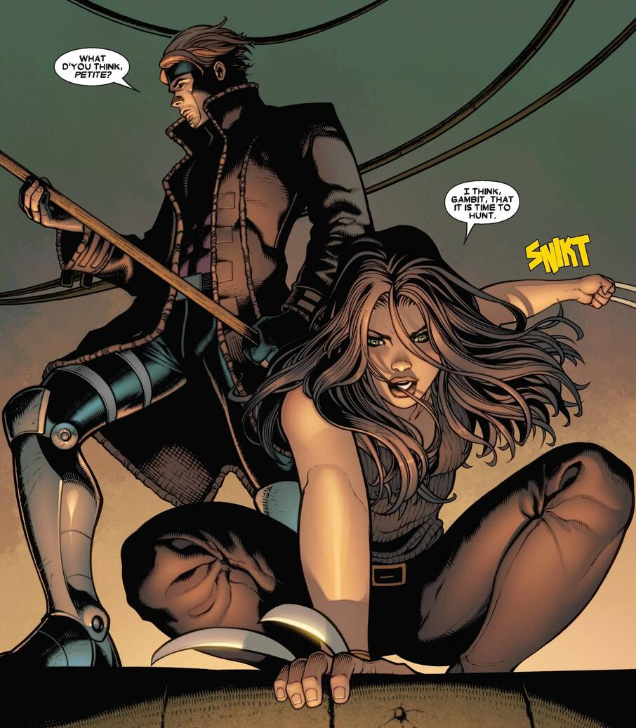 X-23 and Gambit survey the scene in X-23 (2010) #8.