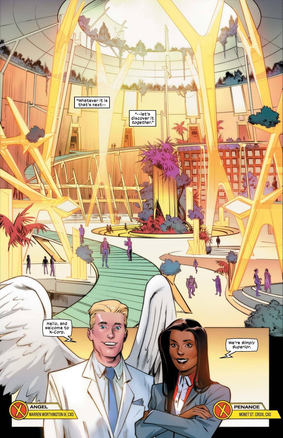 Warren and M set the stage in X-CORP (2021) #1.