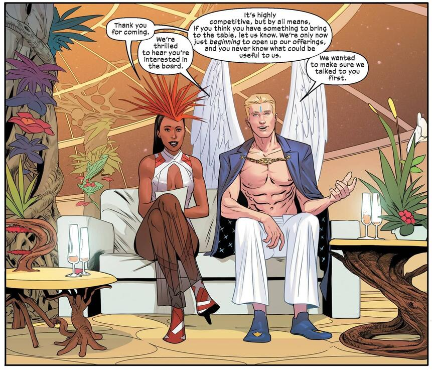 Angel and Monet St. Croix recruit their Board in X-CORP (2021) #2.