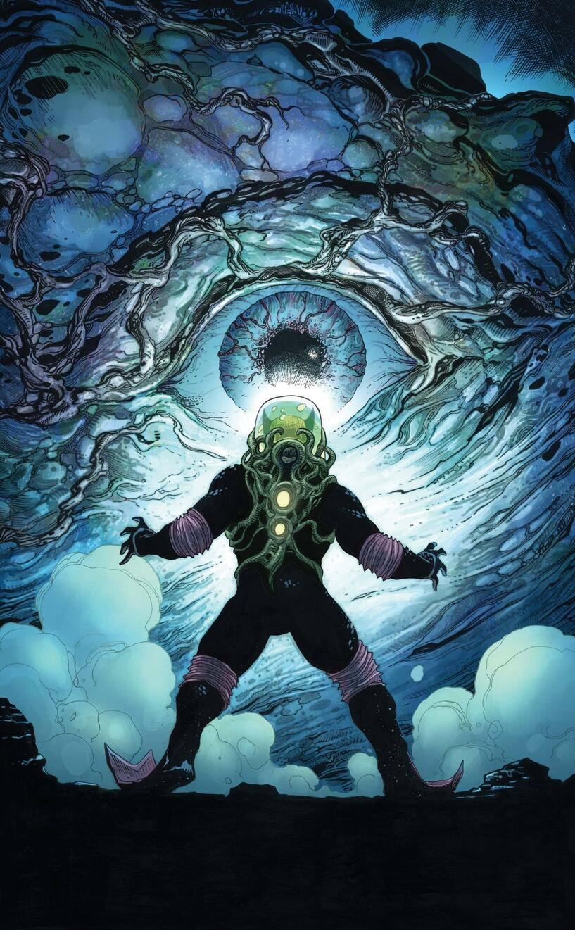 Wolverine confronts a monster of the deep.
