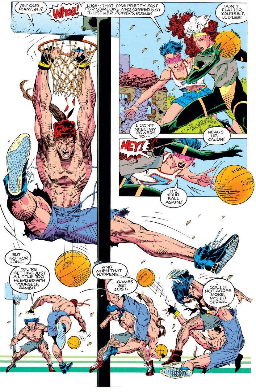 X-Men play basketball