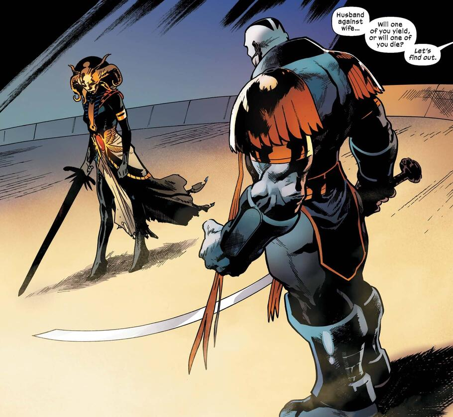 Husband versus wife in X-MEN (2019) #15.