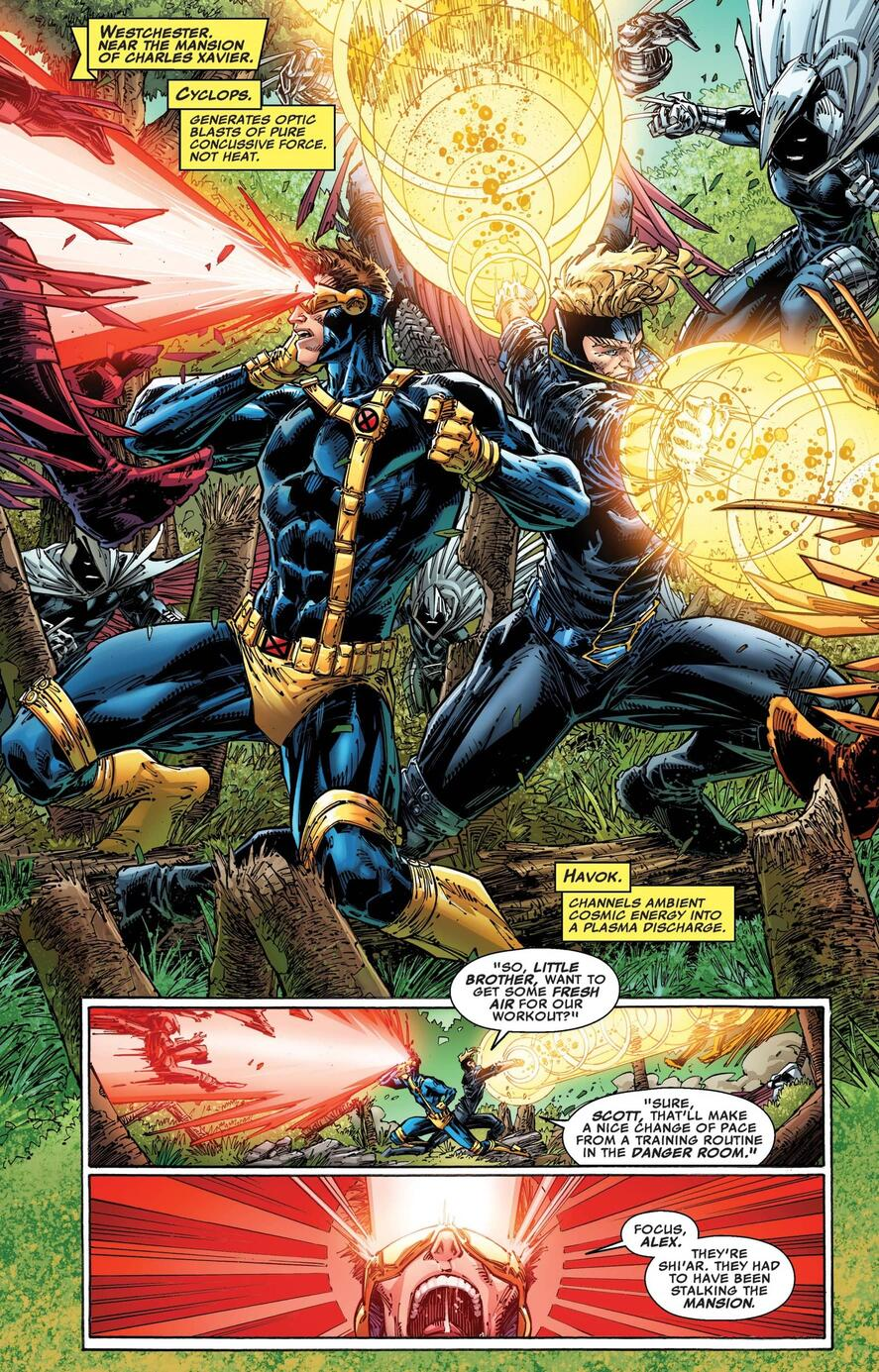 Cyclops and Havok team-up against the Shi'ar.