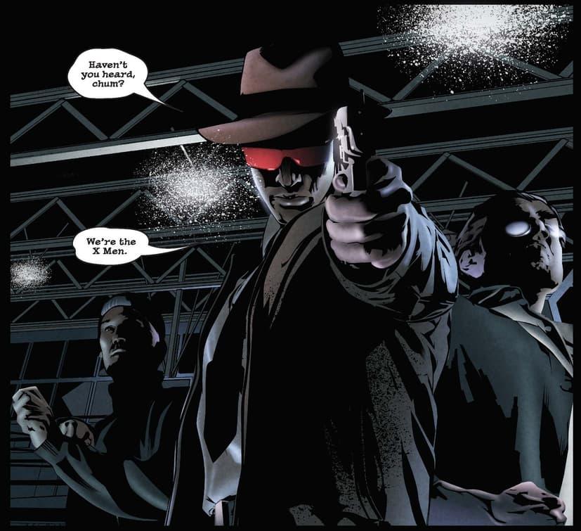 Cyclops points a pistol in X-MEN NOIR (2008) #1