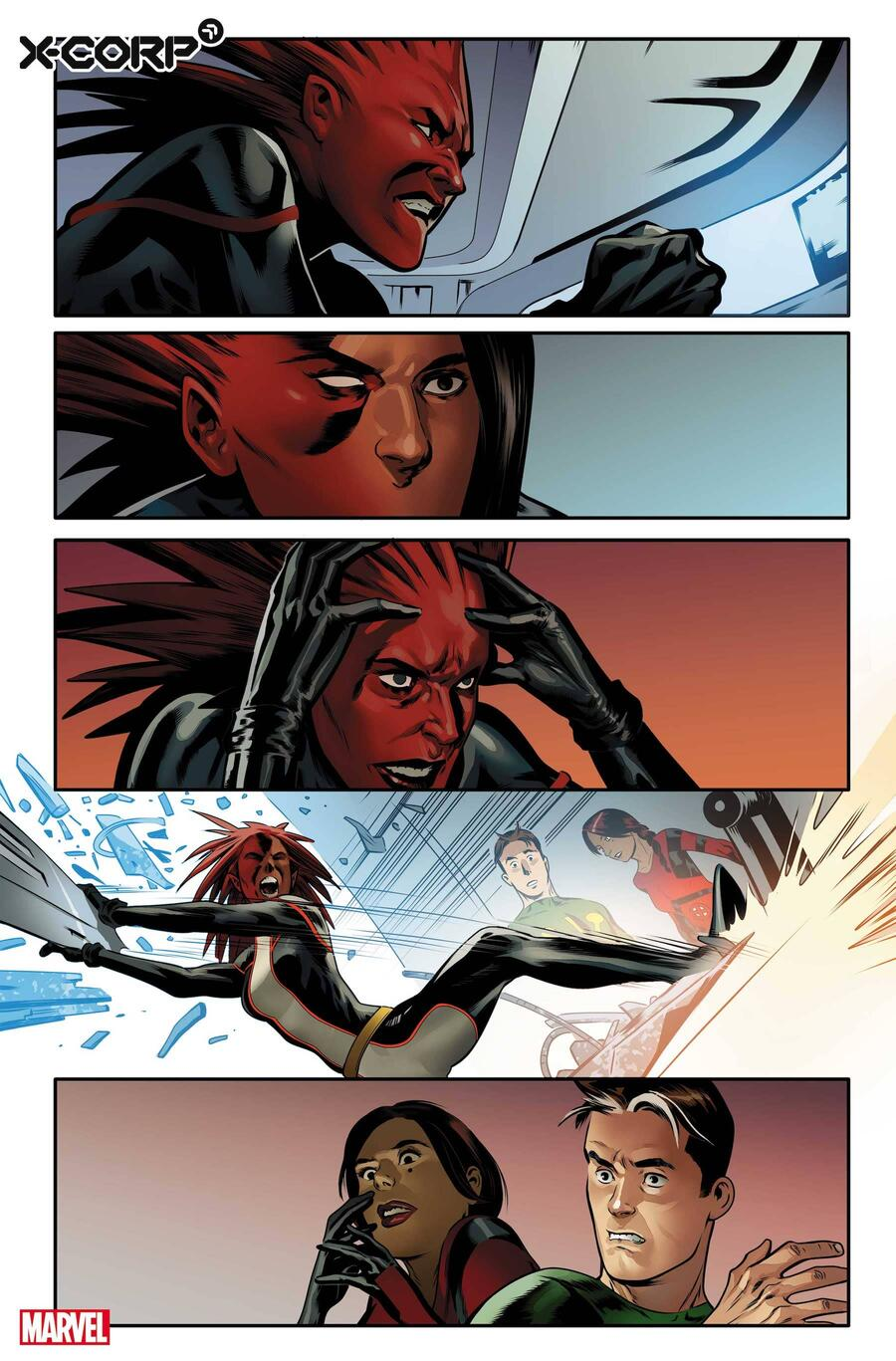 X-CORP #1 art by Alberto Foche with colors by Sunny Gho