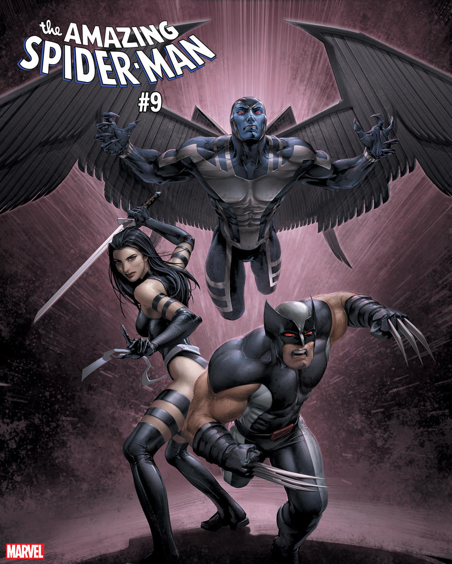 AMAZING SPIDER-MAN #9 / UNCANNY X-MEN VARIANT COVER by Clayton Crain