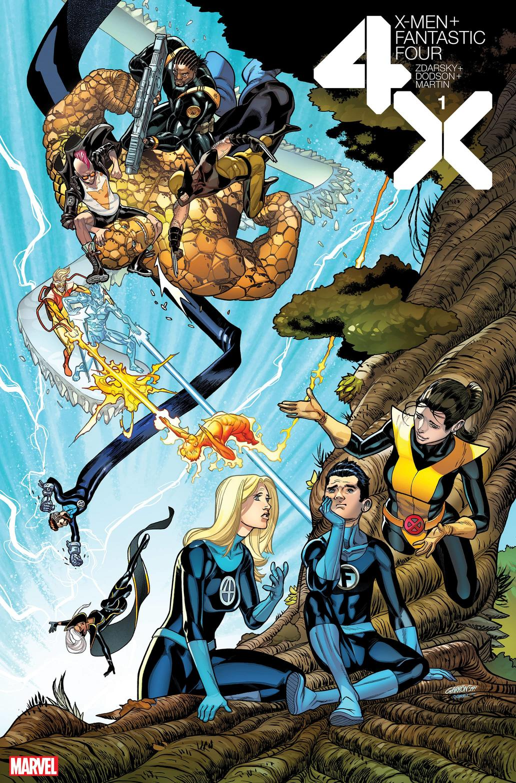 X-MEN/FANTASTIC FOUR variant cover by Javier Garron