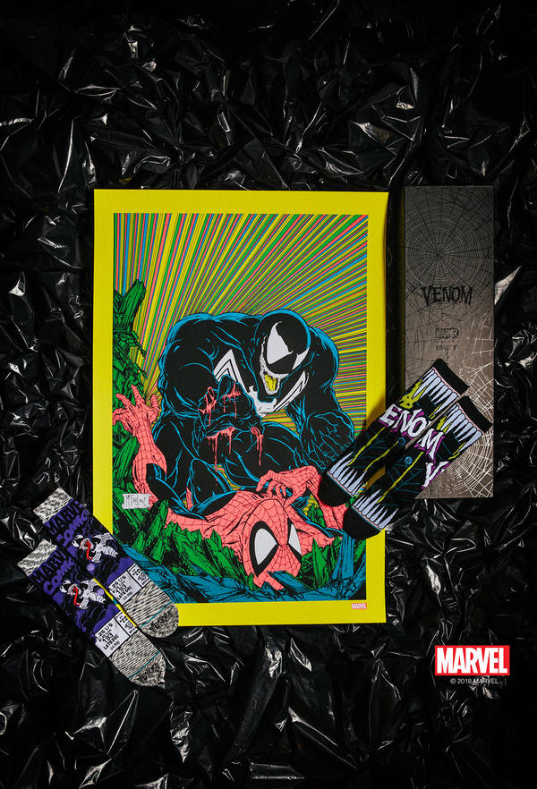 Venom Poster (yellow border) and Socks