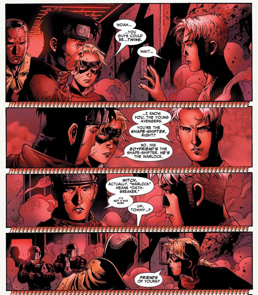 The reunion of brothers in YOUNG AVENGERS (2005) #10.