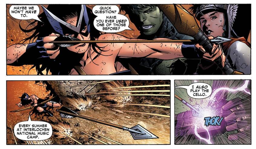 Kate Bishop lets loose an arrow against Kang!