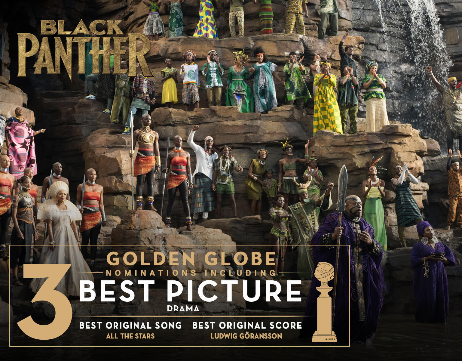 Marvel Studios' Black Panther has been nominated for 3 Golden Globes
