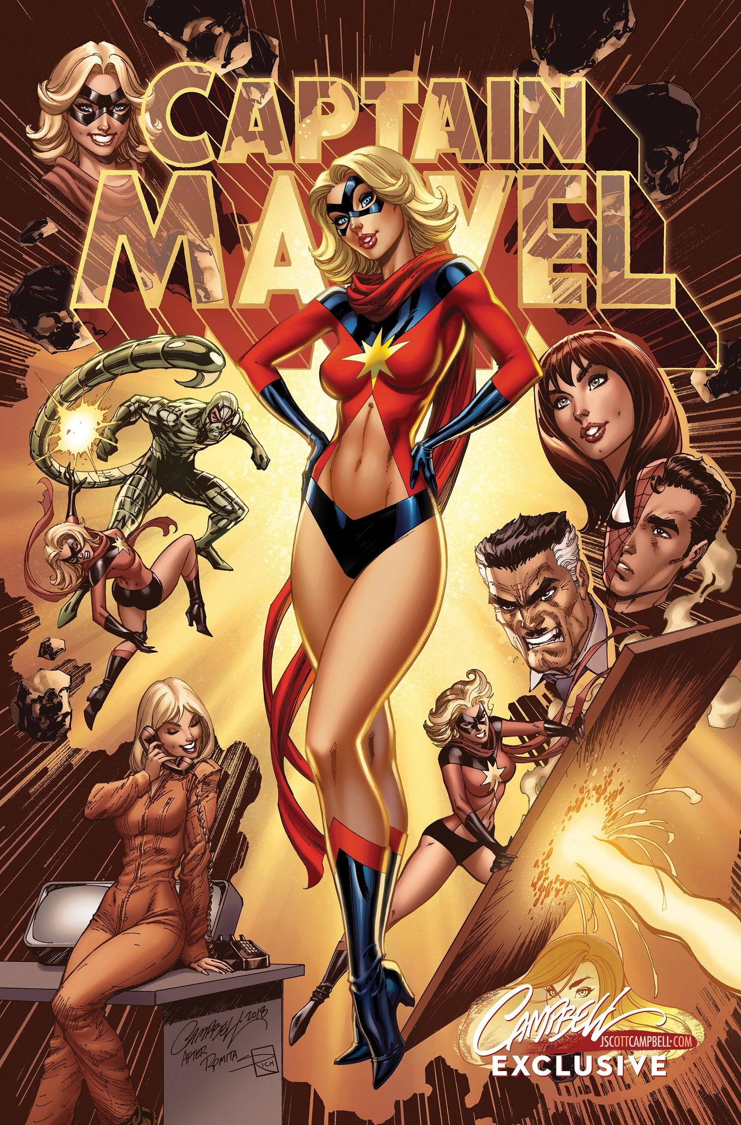 Captain Marvel #1 variant cover by J. Scott Campbell with colors by Sabine Rich