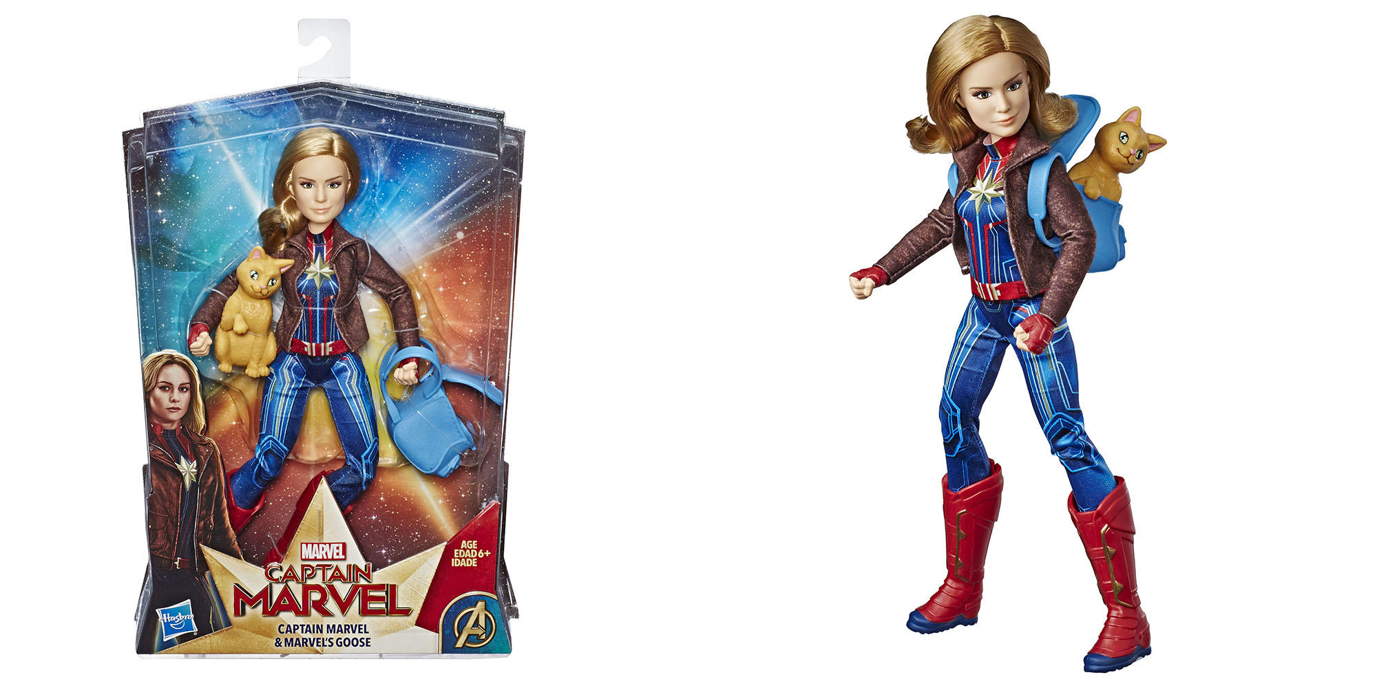 """CAPTAIN MARVEL"" MOVIE CAPTAIN MARVEL DOLL AND MARVEL'S GOOSE"