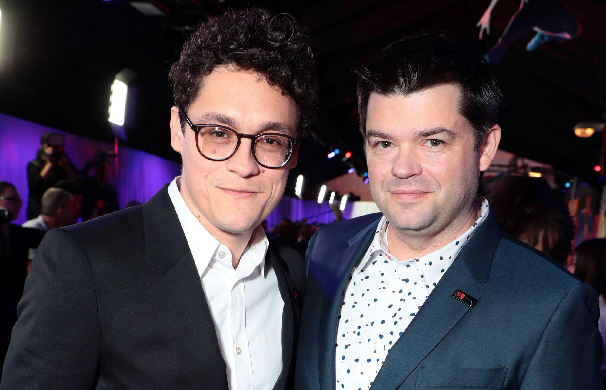 "Phil Lord and Christopher Miller at the world premiere of ""Spider-Man: Into the Spider-Verse"""