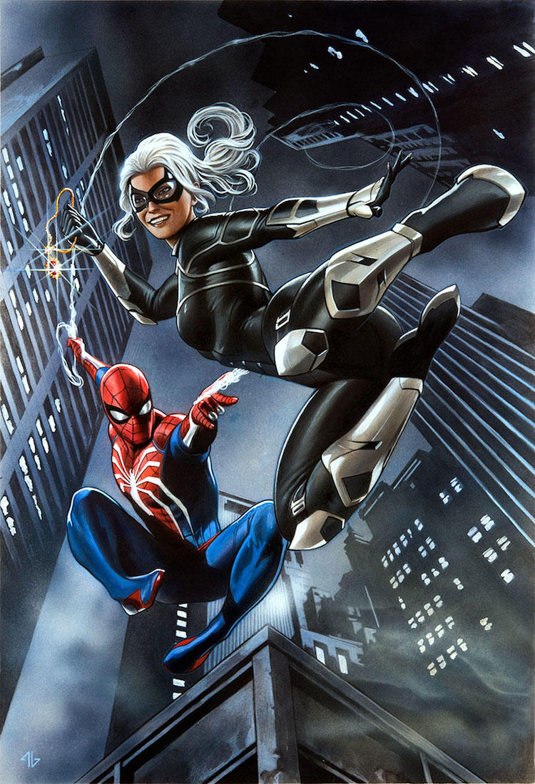 Marvel's Spider-Man: The Heist - Spider-Man and Black Cat piece by Adi Granov