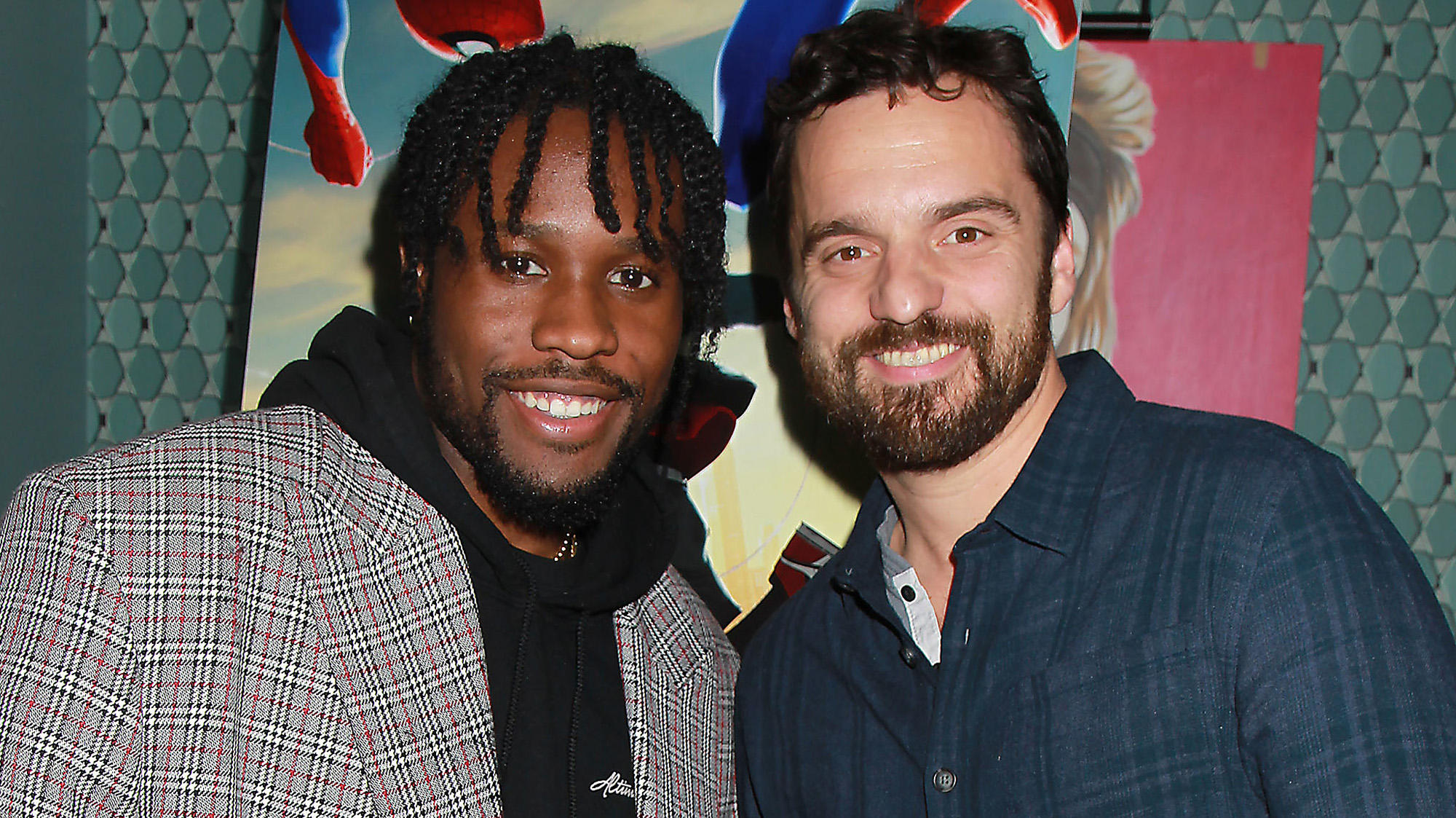 "Shameik Moore and Jake Johnson at a recent screening of ""Spider-Man: Into the Spider-Verse"""