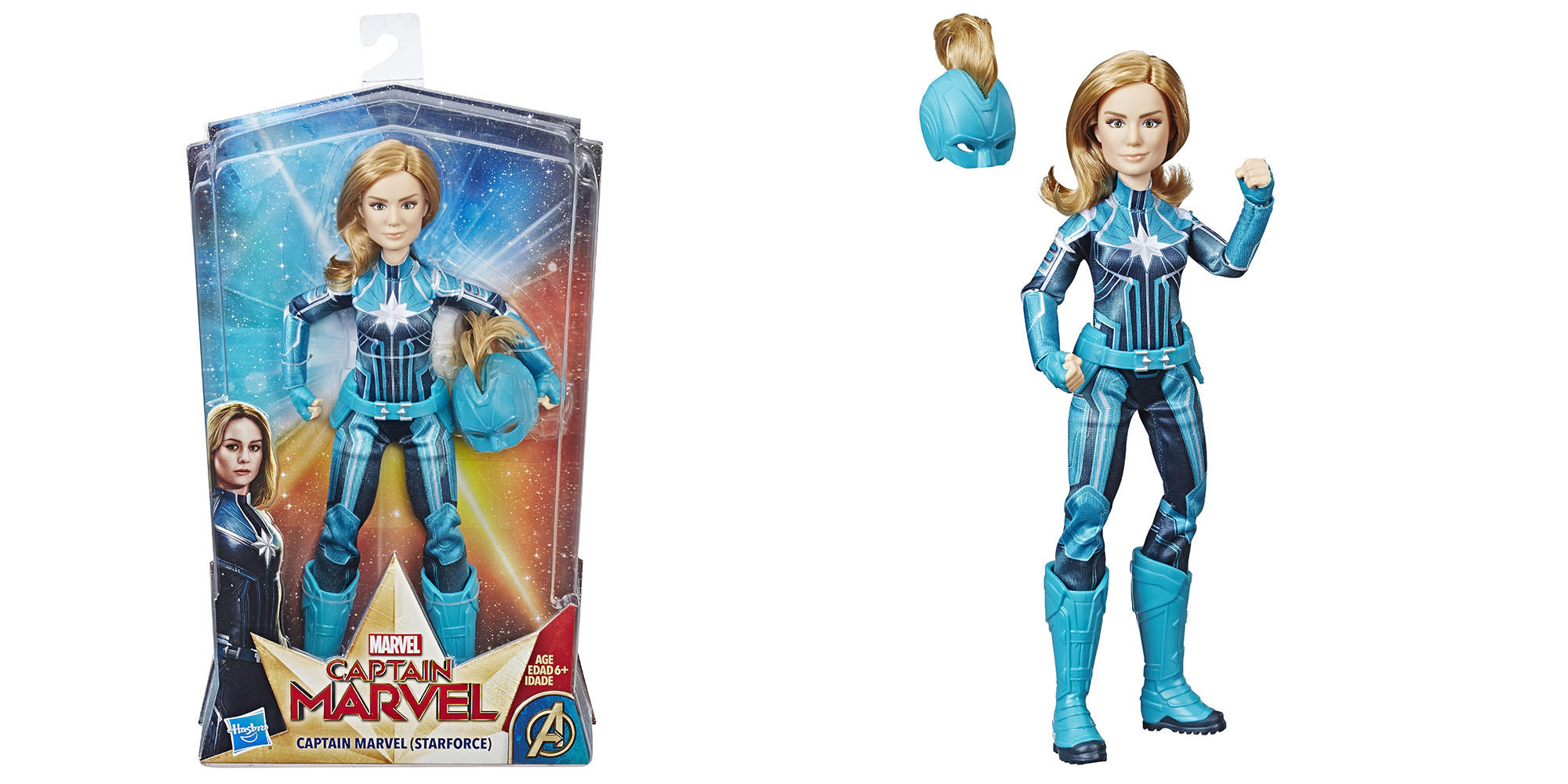 """CAPTAIN MARVEL"" MOVIE CAPTAIN MARVEL (STARFORCE) DOLL WITH HELMET"