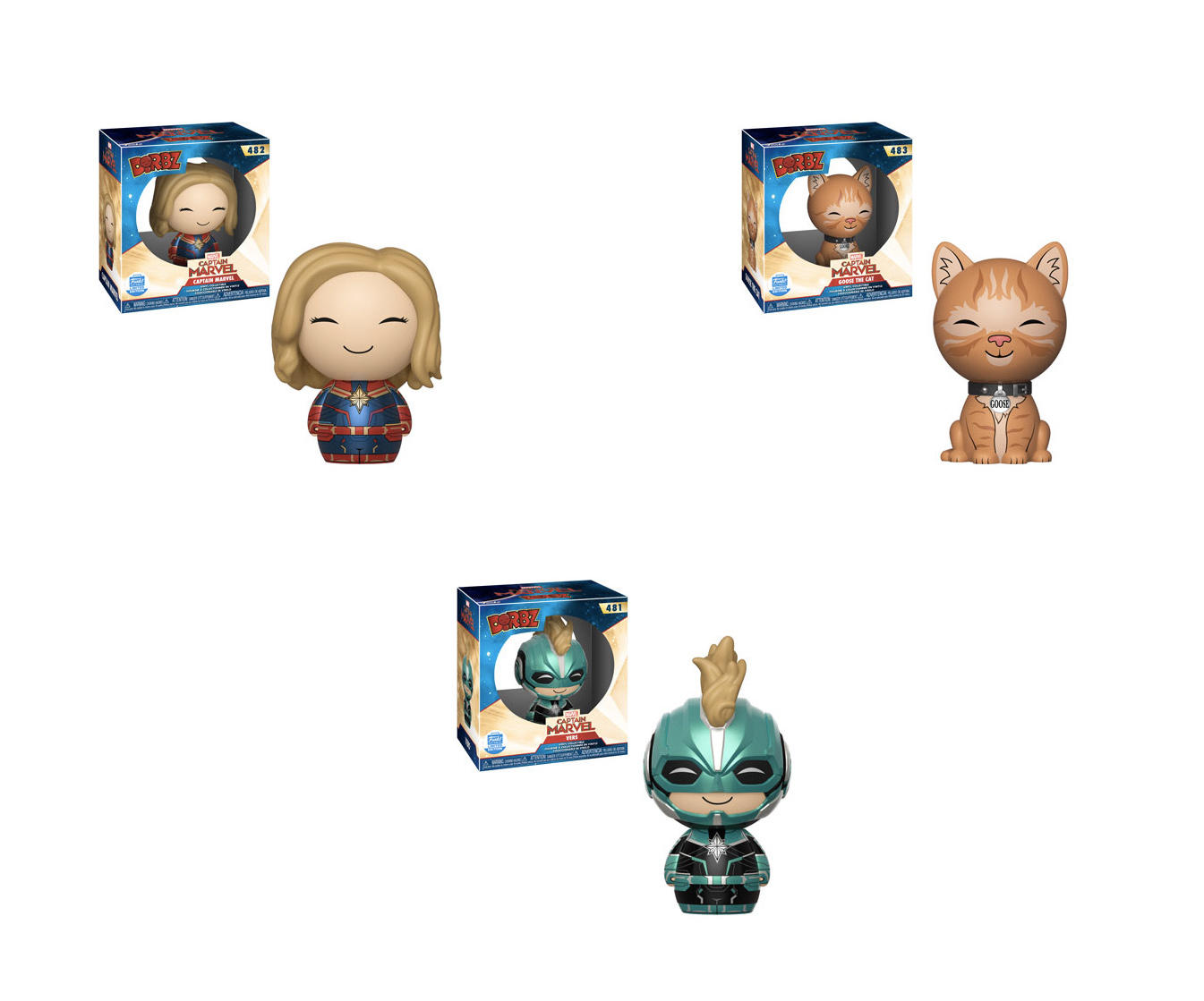 If you're looking for Captain Marvel characters with an adorable edge, Captain Marvel, her beloved pet Goose the Cat, and Vers are available as adorable Dorbz figures available as Funko Shop exclusives.