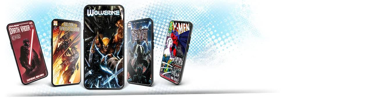 Exclusive digital comic variants! Image of phones with comic covers.