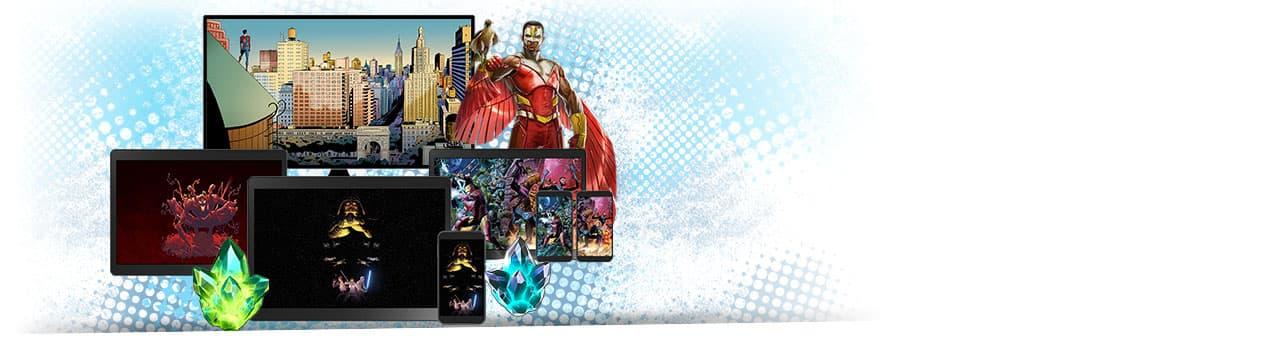 Plus, digital comics, digital wallpapers, in-game rewards! Variety of phones and tablets showing digital prizes.