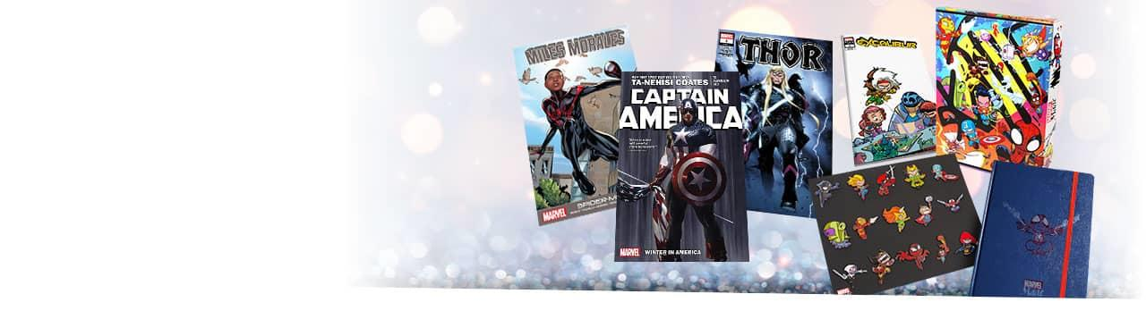 Chances to win special Marvel items and merch! Skottie Young Marvel Made bundle and comic books.