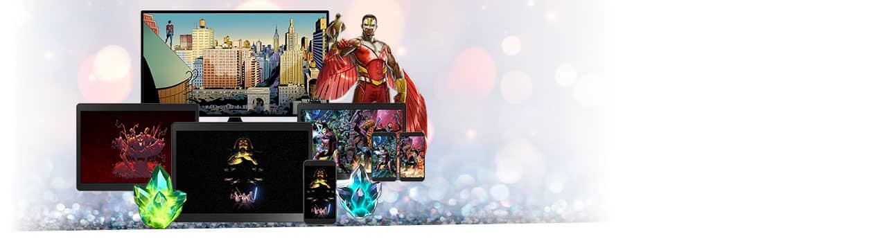 Plus, digital comics, digital wallpapers, in-game rewards! Variety of phones and tablets showing digital prizes.