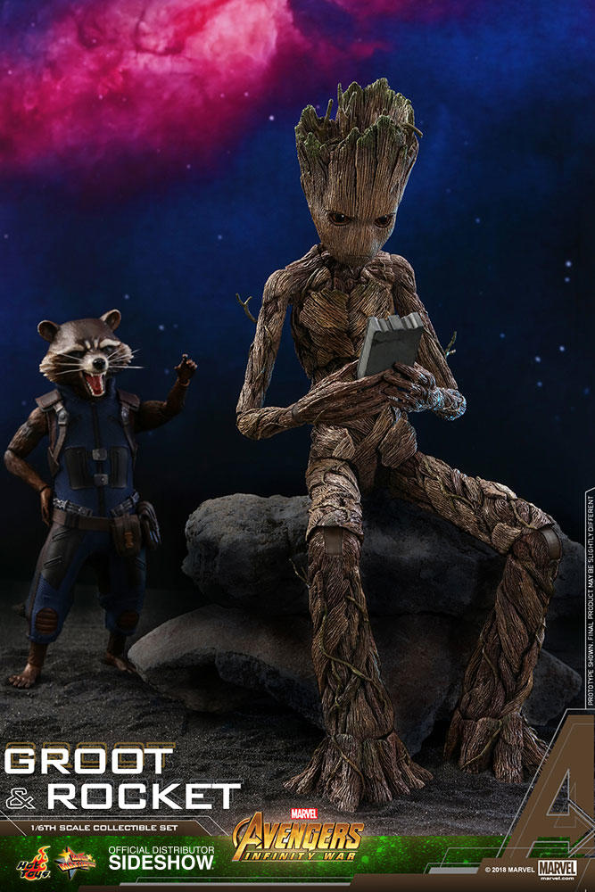 """ROCKET & GROOT """"AVENGERS: INFINITY WAR"""" SIXTH SCALE FIGURE SET BY HOT TOYS"""
