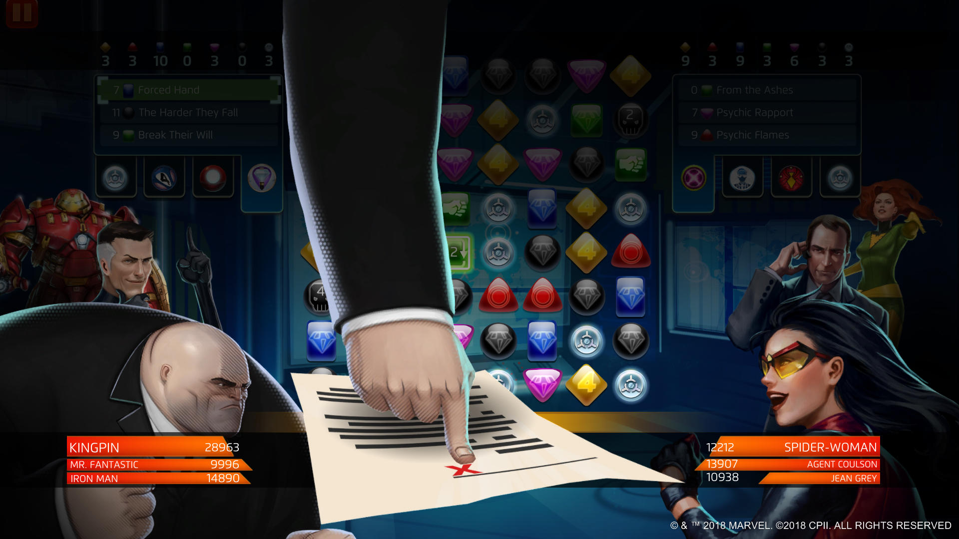 Marvel Puzzle Quest - Kingpin Forced Hand
