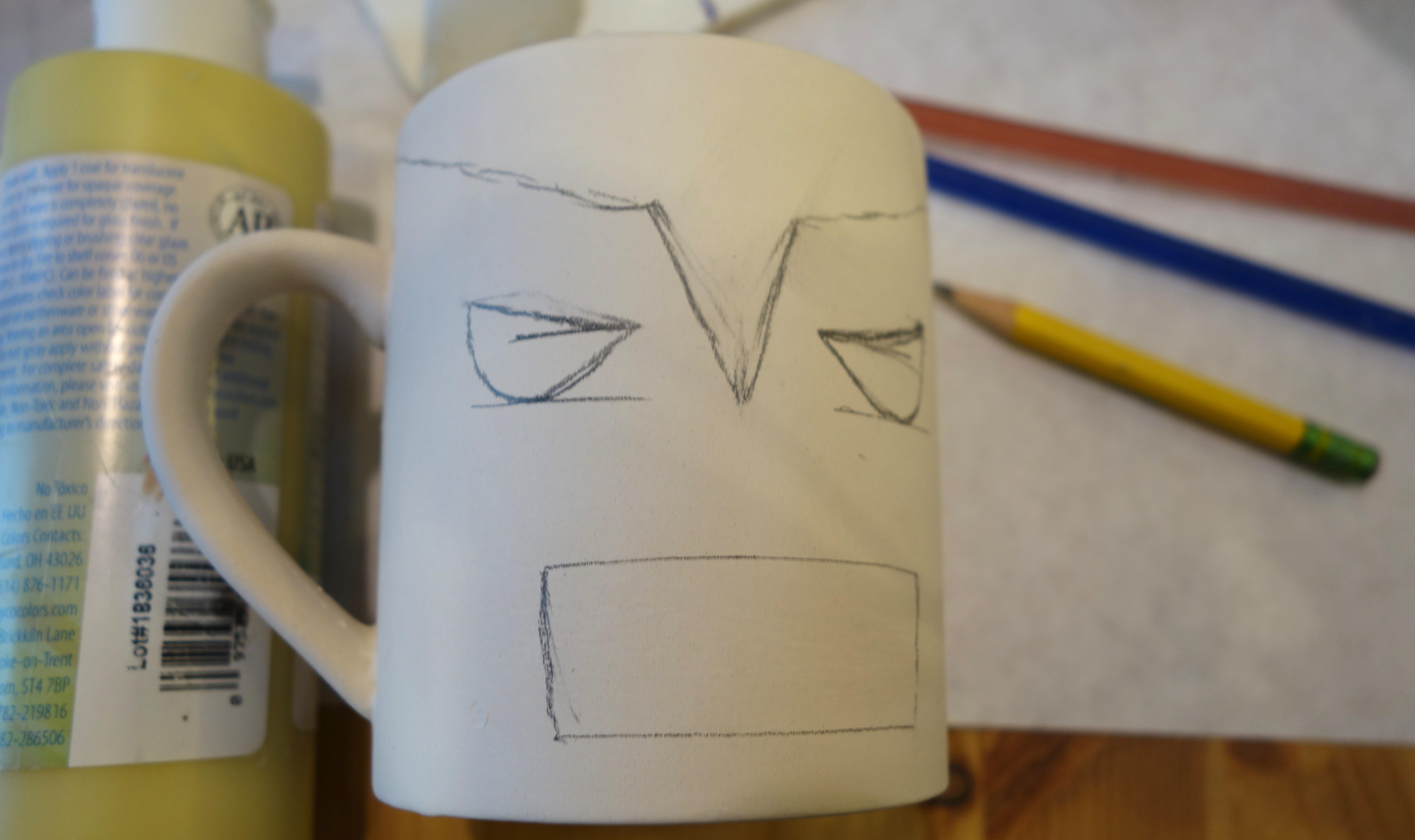 DIY Wolverine Mug Craft - Lightly draw Wolverine's face and mask
